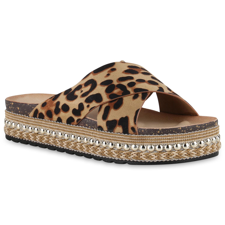 Damen Sandaletten Pantoletten - Leopard