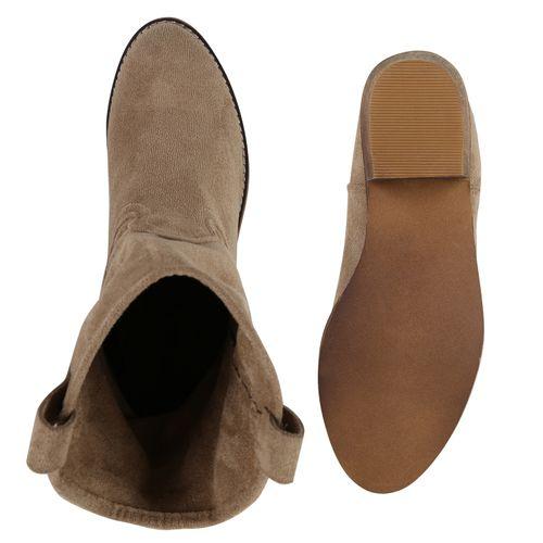Damen Stiefeletten Cowboy Boots - Khaki