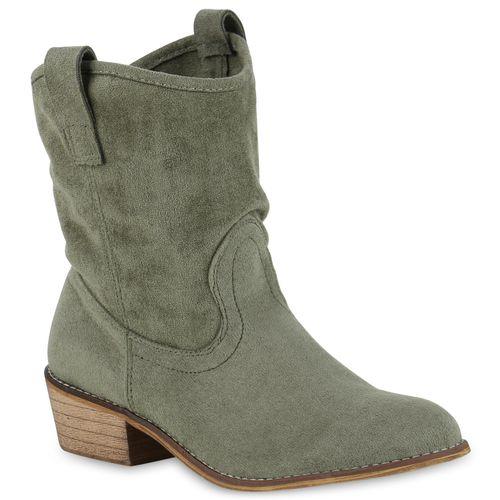 Stiefelparadies Damen Stiefeletten Cowboy Boots mit