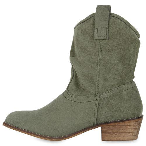 Damen Stiefeletten Cowboy Boots - Dunkelgrün