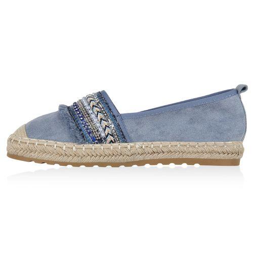 Damen Slippers Espadrilles - Hellblau