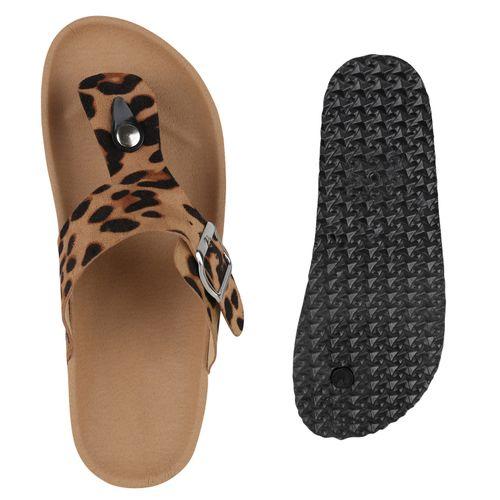 Damen Sandalen Zehentrenner - Leopard