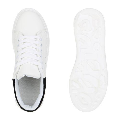 Damen Plateau Sneaker - Weiß Schwarz Velours