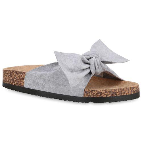Damen Sandalen Pantoletten - Grau