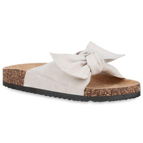 Damen Sandalen Pantoletten - Creme