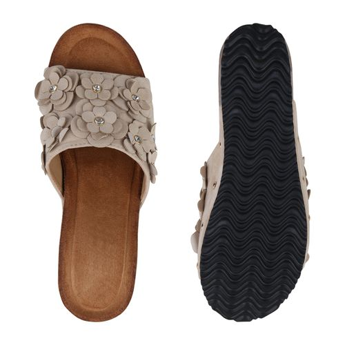 Damen Creme Sandaletten Sandaletten Pantoletten Damen Creme Pantoletten wxZgq0n