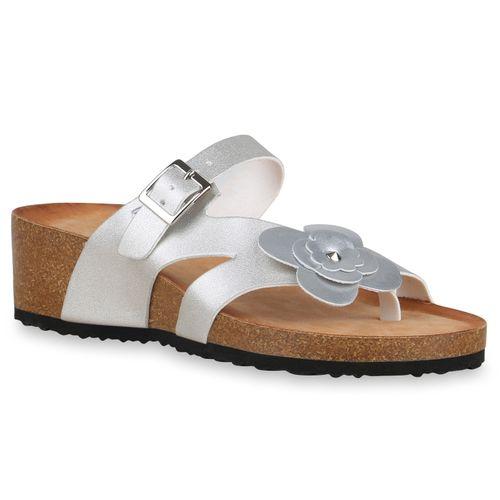 Zehentrenner Damen Damen Silber Sandaletten Sandaletten rtw04qr