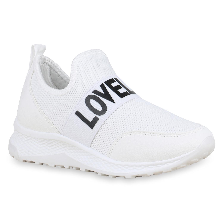 Sportschuhe - Damen Sportschuhe Slip Ons Weiß › stiefelparadies.de  - Onlineshop Stiefelparadies