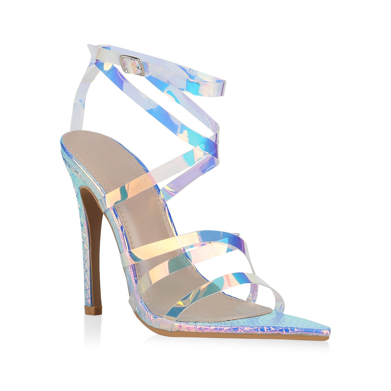 Highheels für Frauen - Damen Sandaletten High Heels Mehrfarbig Snake  - Onlineshop Stiefelparadies