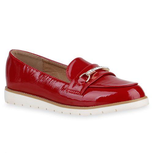 Damen Slippers Loafers - Dunkelrot