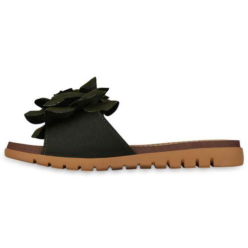 Damen Sandalen Pantoletten - Dunkelgrün