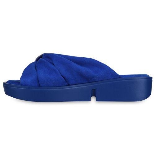 Damen Sandaletten Pantoletten - Blau