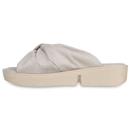 Damen Sandaletten Pantoletten - Creme