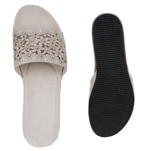 Damen Creme Damen Pantoletten Sandaletten Sandaletten fwqc65HI
