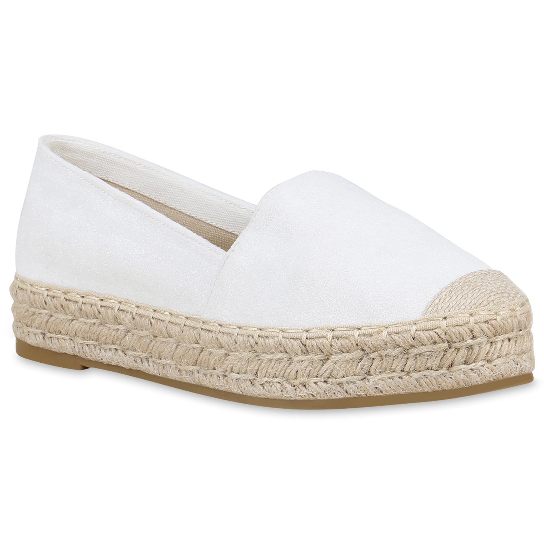 Slipper für Frauen - Damen Slippers Espadrilles Weiß  - Onlineshop Stiefelparadies