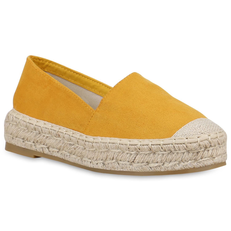 Slipper für Frauen - Damen Slippers Espadrilles Gelb  - Onlineshop Stiefelparadies
