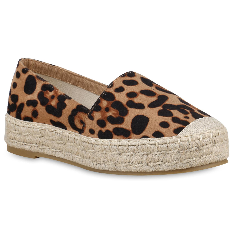 Slipper für Frauen - Damen Slippers Espadrilles Leopard  - Onlineshop Stiefelparadies