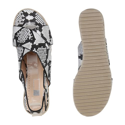 Damen Damen Snake Sandaletten Sandaletten Plateau Damen Weiß Weiß Plateau Snake Plateau x6rBYw61Pq