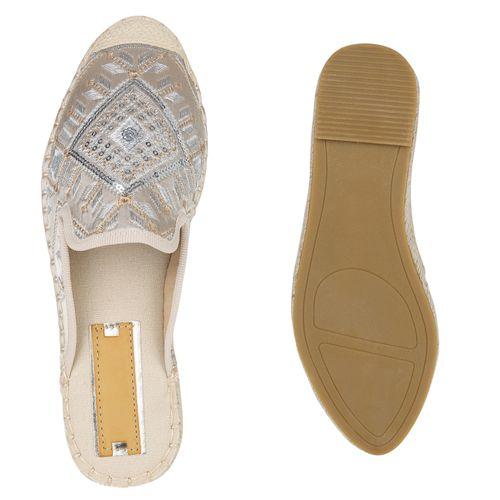 Damen Slippers Pantoletten - Creme