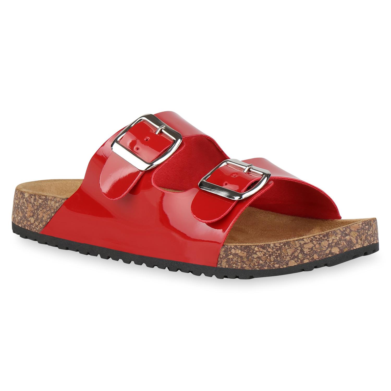 Sandalen für Frauen - Damen Sandalen Pantoletten Rot › stiefelpardies.de  - Onlineshop Stiefelparadies