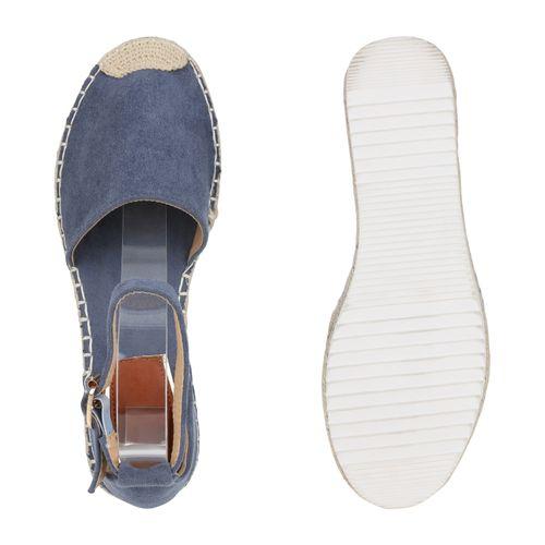 Damen Plateau Sandaletten - Blau