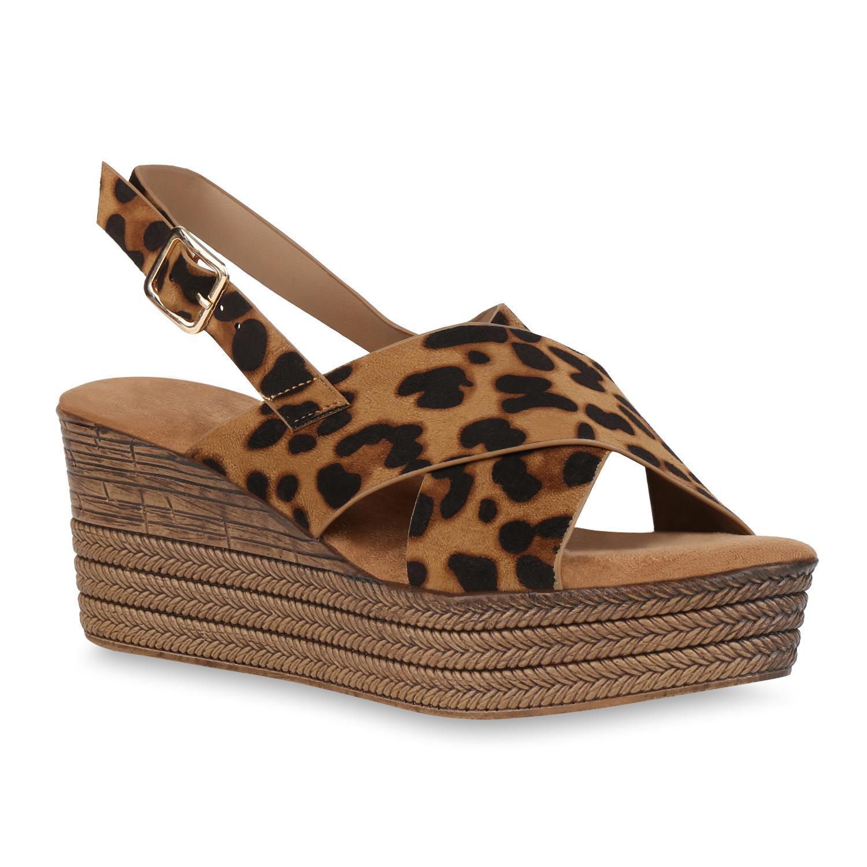 Damen Plateau Sandaletten - Leopard