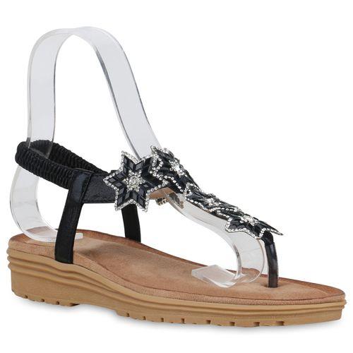 Damen Zehentrenner Sandaletten Damen Schwarz Sandaletten F4YvHf