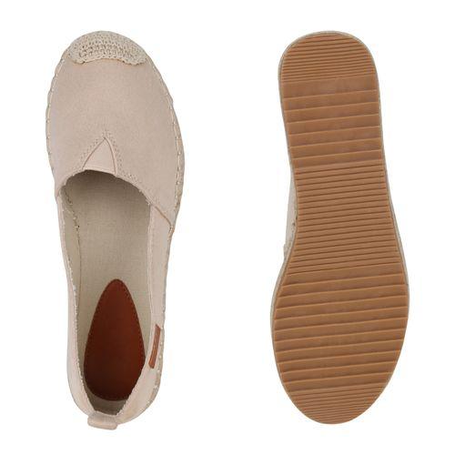 Damen Espadrilles Damen Espadrilles Slippers Slippers Creme Damen Creme Slippers 7Iq0wAB