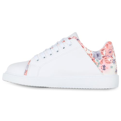 Damen Sneaker low - Weiß Rosa Muster