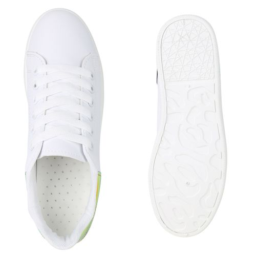 Mehrfarbig Metallic Damen Low Sneaker Weiß 6fZtw