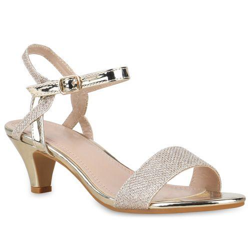 Sandaletten Damen Damen Gold Riemchensandaletten Sandaletten RB7vTqA