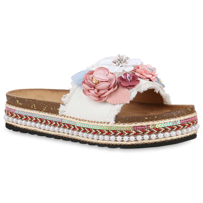 Damen Sandaletten Pantoletten - Weiß