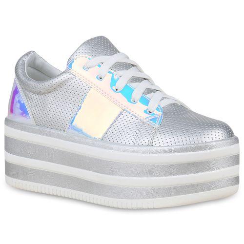 Damen Damen Sneaker Silber Plateau Sneaker Silber Plateau rZq7rH