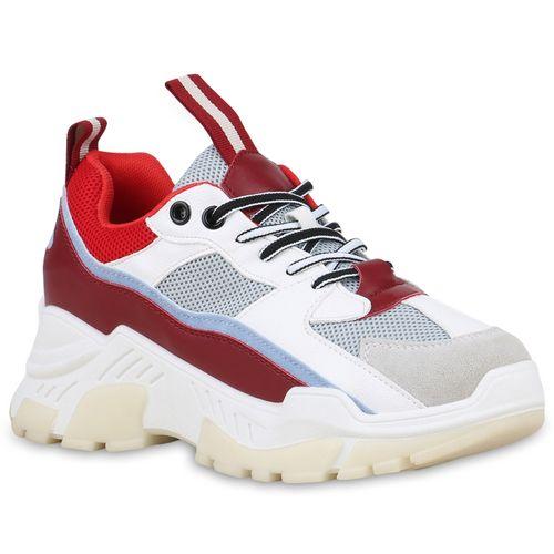 sale retailer 667f0 beb4c Damen Plateau Sneaker - Grau Dunkelrot