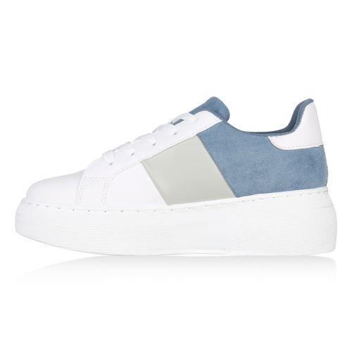 Damen Plateau Sneaker - Hellblau Grau