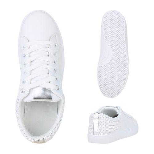Weiß Damen Damen Low Sneaker Weiß Silber Sneaker Low wqYOB