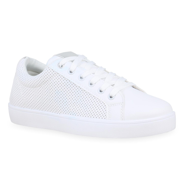 Damen Sneaker low Weiß Silber
