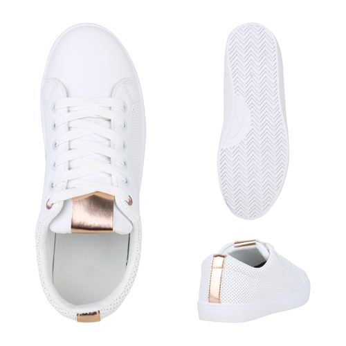 Low Sneaker Rose Damen Gold Weiß gAX5qxq