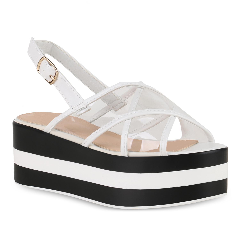 Damen Plateau Sandaletten Weiß