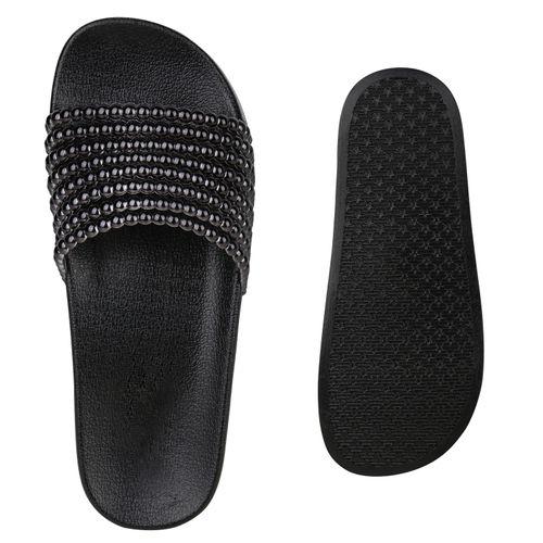 Damen Sandalen Pantoletten - Weiß Schwarz