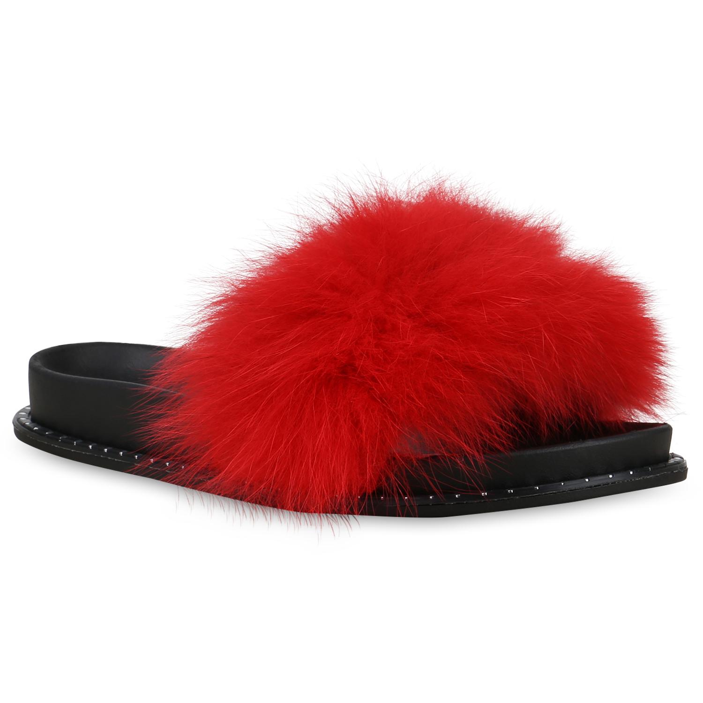 Damen Sandalen Pantoletten Kunstfell Hausschuhe Sommer Schlappen 826560 Schuhe