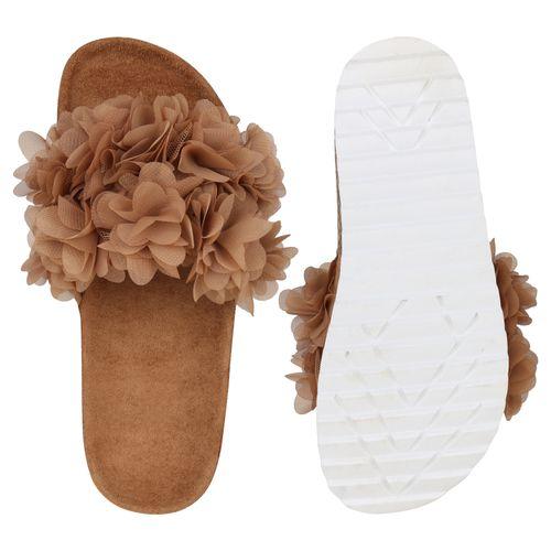 Damen Sandalen Pantoletten - Hellbraun