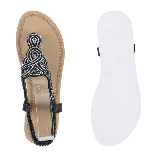 Sandaletten Damen Damen Schwarz Sandaletten Zehentrenner Fvxn78B