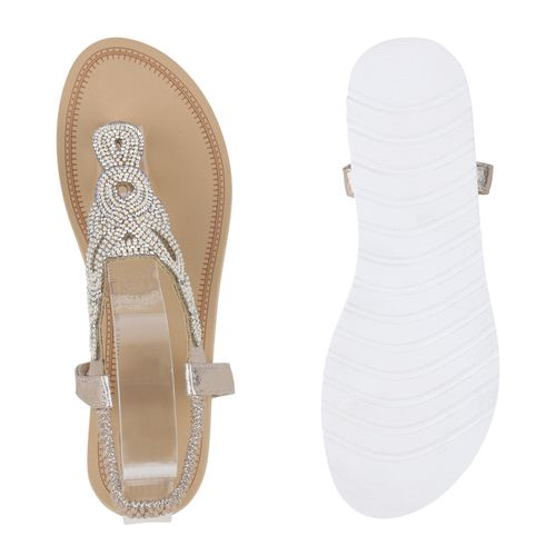 Damen Sandaletten Gold Zehentrenner Damen Sandaletten ZqwznFvBZ