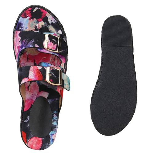 Damen Sandalen Pantoletten - Schwarz Muster