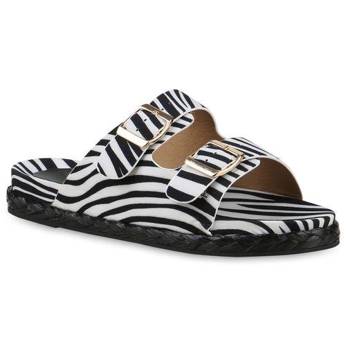 Damen Sandalen Pantoletten - Schwarz Weiß Zebra