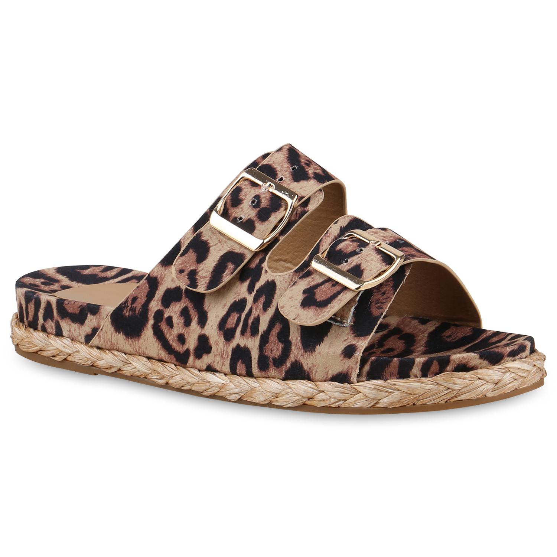 Damen Sandalen Pantoletten - Hellbraun Leopard