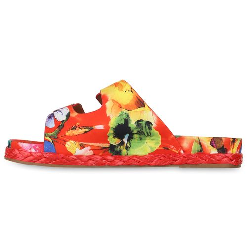 Damen Sandalen Pantoletten - Rot Muster