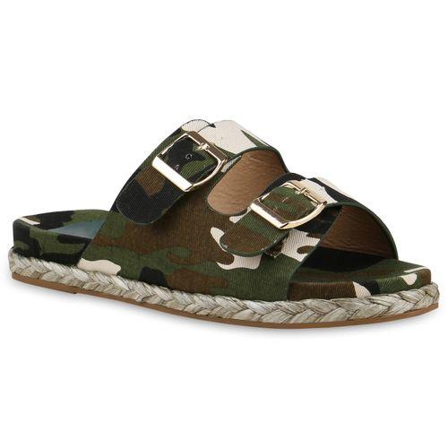 Damen Sandalen Pantoletten - Camouflage