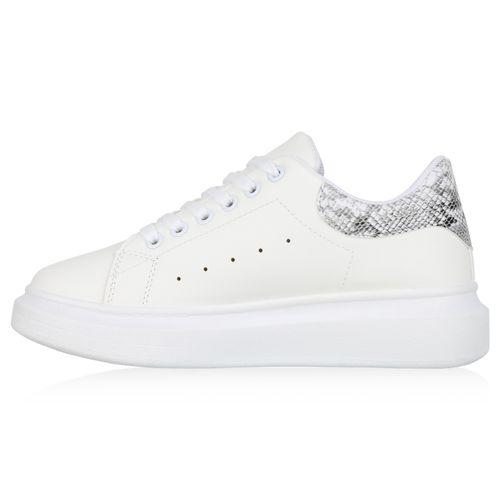 Damen Plateau Sneaker - Weiß Grau Snake